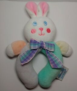 VTG EDEN Baby Rattle Bunny Rabbit Round Ring Pastel Plaid Ribbon 1990's