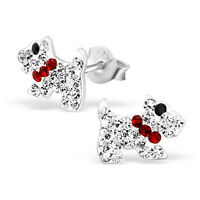Children Girls 925 Sterling Silver Scottie Dog Stud Earrings Clear Crystal Boxed