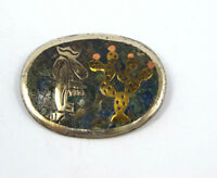 Vtg Hecho en Mexico Taxco Sterling Silver Brass Turquoise Mosaic Brooch Pendant