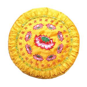 Chinese Style Lotus Printed Meditation Yoga Pray Pad Pillow Cushion Gold 60cm