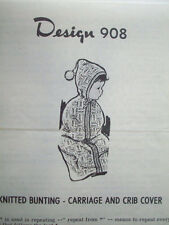 Design 908 knitted knitting baby bunting - carriage crib cover pattern