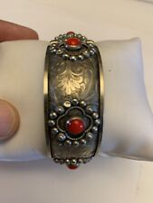 Beautiful Vintage Silver Plated Hinged Bracelet With Pin Made In Italy