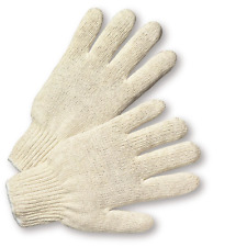 12 PAIR 1 DOZEN WHITE STRING KNIT POLY COTTON WORK GLOVES PAIRS LARGE L NEW