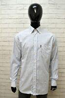 Camicia Uomo AMERIGO VESPUCCI Taglia XL Maglia Shirt Man Manica Lunga Bianco Blu
