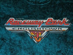 RACEWAY PARK ENGLISHTOWN NJ SHIRT VINTAGE MENS LARGE BLUE AND BLACK OLD BRIDGE N