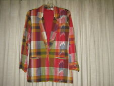 Multi Color Plaid Cotton Blazer, M, EUC