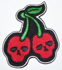 New Skull Cherry iron on patch rockabilly punk cherries red girl - 109