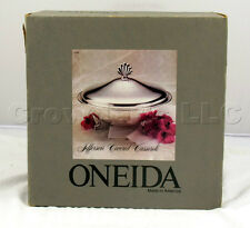 Oneida Tarnished Silver Plated Jefferson Covered Casserole w/ Liner Made in USA