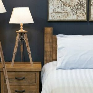 Rustic wooden Tripod style TABLE LAMP with linen coloured shade 60cm