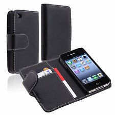 Black Premium Card Slot PU Wallet Flip Leather Cover Case For iPhone 4 4G 4S New