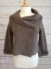 Chiara Mente Sweater Jacket Womens Size Medium Wrap Brown Tan Chevron Made Italy