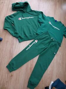 CHAMPION ladies 3 piece tracksuit set t shirt trousers jumper XS X SMALL 8 - 10