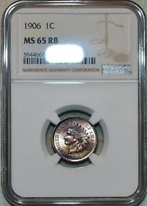 NGC MS-65 RB 1906 Indian Head Cent, Frosty, Red-Brown Gem.