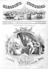 Saint Valentine's Day  -  Cupid  -  Love   -  1852 Antique Print