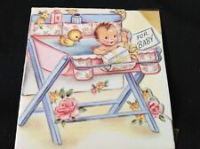 #721 Sweet Vintage Baby Gift Enclosure Card Baby Bath M Cooper 1940s
