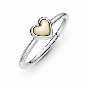 Authentic Pandora Domed Golden Heart Ring S925 ALE Pick Size