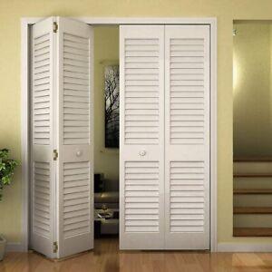Closet Door, Bi-fold, Louver Plantation Primed White (30x80)