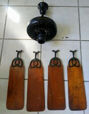 """ANTIQUE 1920'S GENERAL ELECTRIC CEILING FAN  52"""" W/ MAHOGANY BLADES - WORKS !"""
