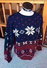 Lord & Taylor Handknit Wool Nordic Sweater Snowflake Print Men's Size Large