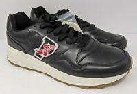 Polo Ralph Lauren Trackstar 100 P Wing Sneakers Black Leather Shoes Size 9.5 RLX
