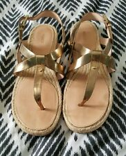 MIMCO Gold All Leather Woven Rattan Strappy Flats Sandals Size 39