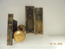 ANTIQUE B.L.W. entry mortise LOCK - Brass Door Knob Set -  2 Back Plates
