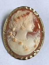 Antique Cameo Carved Woman's Profile Tri Colored Helmet Shell Pin/ Brooch