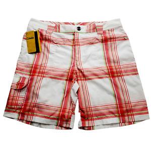 Cabela's Women's Triune Shorts Melon Plaid Size 14 UPF 50 Pnk White Green NWT