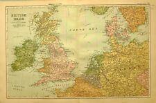 1894 Carte Îles Britanniques Écosse England Belgique Hollande Allemagne Danemark