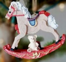 "Rocking horse Teddy bear red ribbon Christmas ornament resin 3-1/2"" x 3-5/8"""