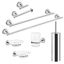 Accessori bagno set 8 pezzi Gedy metallo cromato vetro satinato arredo moderno