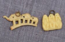 Two Vintage Celluloid Charms - Elephant Bridge and See/Hear/Speak No Evil Charms