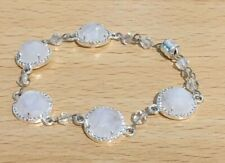 """Rainbow Moonstone Round Briolette Silver Plated with CZ 6.75"""" Rosary Bracelet"""