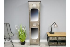 Metal Locker Style Mirrored Storage Cabinet with Internal Drawer