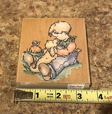 Large Rubber Ink Stamp Boy With Dog Ball Field Wood Handle