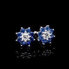 0.25 CT DIAMOND & SAPPHIRE FLOWER POST EARRINGS 14K WHITE GOLD STUDS SCREW-BACK