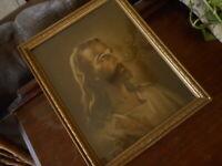 Jesus 1941 Warner Sallman Kriebell & Bates Antique Vintage Framed Print