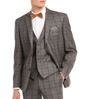 Bar III Mens Suit Seperates Gray Size 38 Short Slim Fit Blazer Plaid $425 322