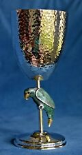 Vintage EMILIA CASTILLO Mexico Inlay Green Stone Parrot Hammered Silver Goblet