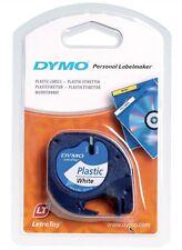 Dymo (12 MM) Plástico Cinta (Negro Sobre Blanco) Para Dymo LetraTAG Serie