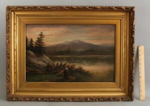 Antique J. Weston American Genre Landscape, Bird Hunting Hunters Oil Painting NR