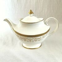 Royal Doulton Large Belmont Teapot Pattern H4991 White and Gold Excellent