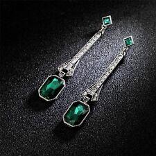 Rings` Ears Nails Silver Art Deco Long Square Green Emerald Retro Xx 11