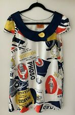 Voom by Joy Han size M, magazine print w/navy collar, yellow button, pre owned