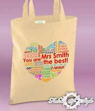 PERSONALISED Tote Bag Thank You Teacher School Gift 2019 Design Heart Natural