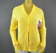 Womens Yellow Cut Out Shapes Cardigan Sweater Long Sleeve Monarca NEW A1