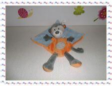 ♣ - Doudou Semi Plat Carré Singe Bleu Orange Taupe ... Bandana  Nicotoy