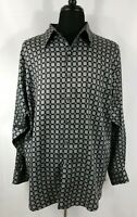 Murano Mens XL Long Sleeve Dress Shirt Casual Button Up Black Silver Rayon Soft