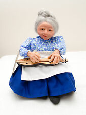 "Made-in-the-Usa Hand-Sculpted 9"" Tall Doll in Blue Playing Mountain Dulcimer"