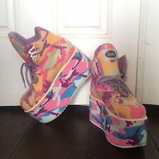 RARE Buffalo x How Two Live x PAOM Rainbow Camo Platform Club Kid Shoes 43 / 12